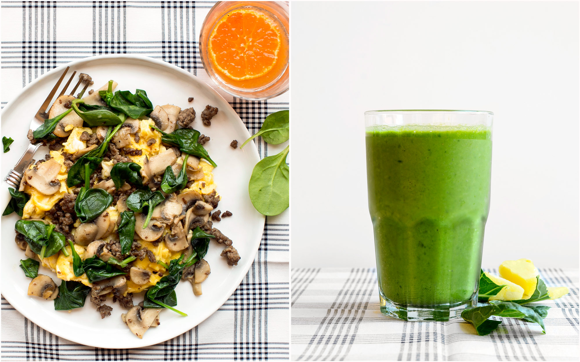 Two Breakfasts: Joe's special & Collard green - pineapple smoothie