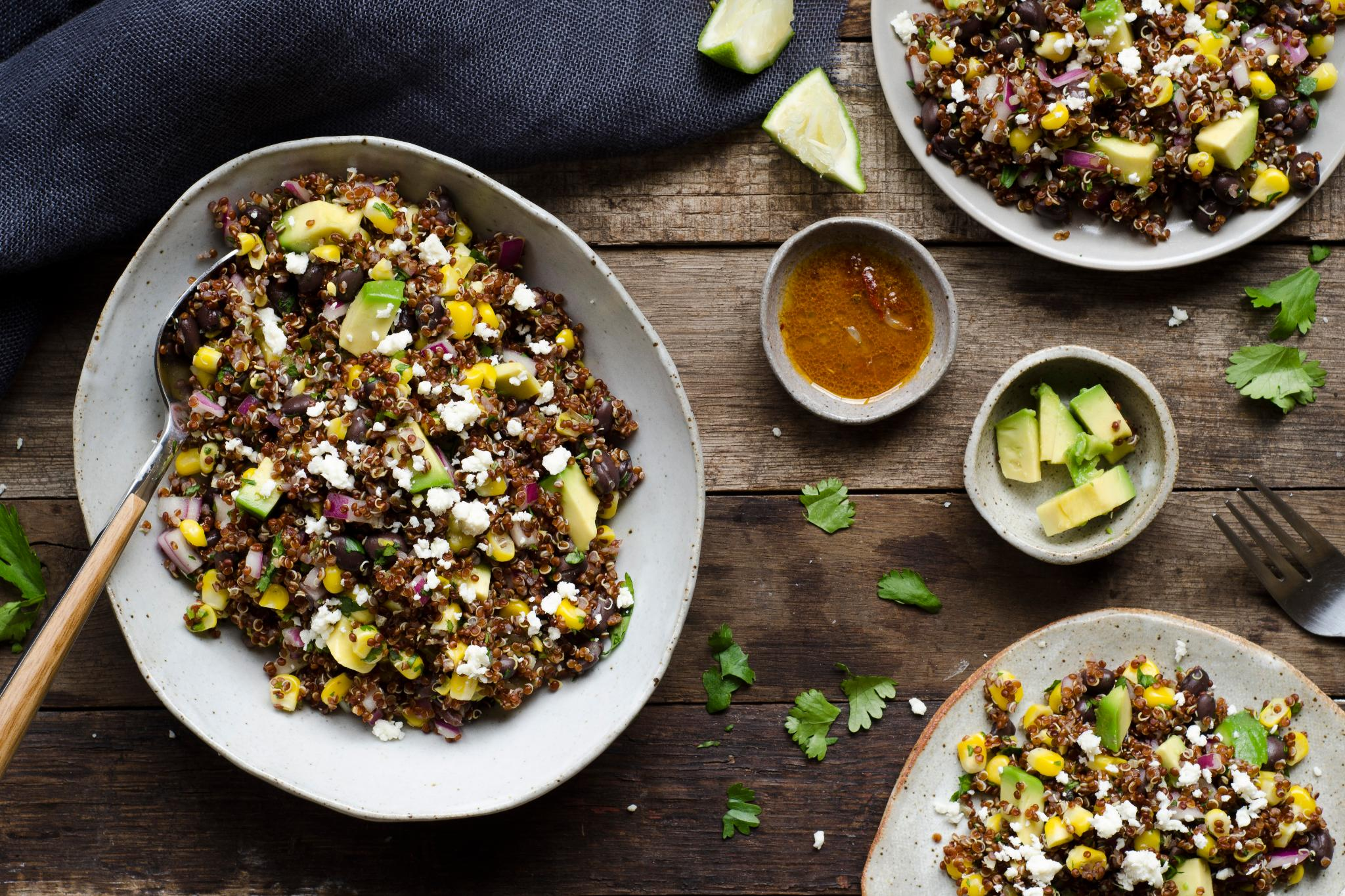 Spicy black bean and fresh corn quinoa with pickled jalapeno and ...