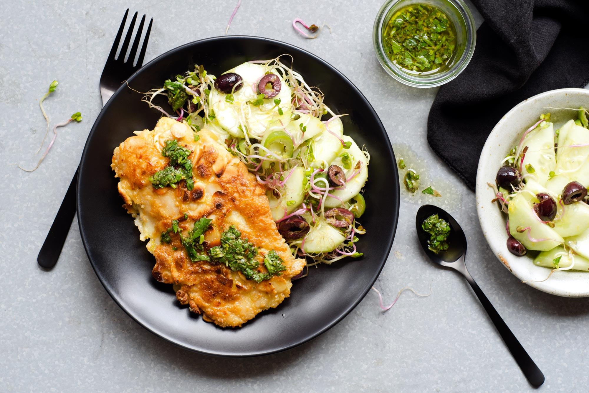 SunBasket: Baked salmon with bok choy and snow pea-radish slaw